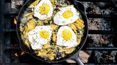 When camping, prep the salsa over the live fire and make perfect eggs on the propane stove. This will also work on a kitchen stove.