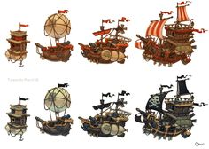 Ships Picture  (2d, cartoon, airships, fantasy, game art)