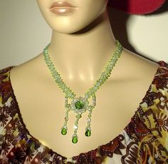 Beautiful handmade beaded green necklace unique Rococo Vintage Glass beads