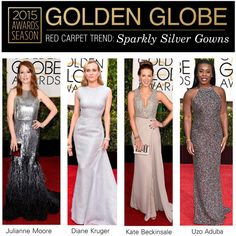 """Golden Globes 2015: Sparkly Silver Gowns"" by polyvore-editorial ❤ liked on Polyvore"
