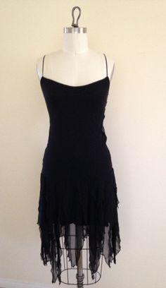 a87805af17b49 Vintage 1990s Betsey Johnson Black Slip Dress,100% Silk,Size M or 6 ,Goth,Grunge