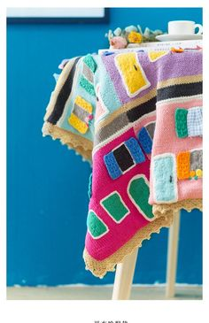 Shereo's crochet pattern+video tutorial of colorful towns blanket Have Time, Crochet Patterns, Blanket, Handmade, Colorful, House, Crochet Chart, Crochet Pattern, Haus