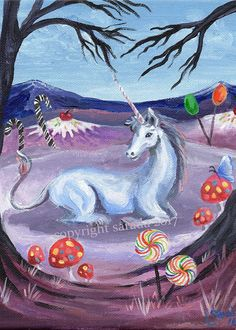 Candyland Unicorn psychedelic winter snow art 5 x 7 or 8 x 10