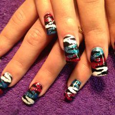 Fourth of July nail art by Debbrew