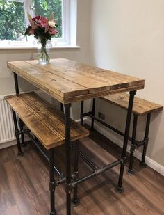 Items similar to Reclaimed wooden breakfast bar table made using reclaimed scaffold boards jointed and sanded super smooth on Etsy Bar Height Kitchen Table, Bar Dining Table, Dining Table Height, Wooden Bar Table, Kitchen Table Makeover, Bar Height Table Diy, Wooden Bar Top, Bar Tables, Diy Outdoor Kitchen