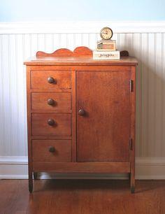 Mid Century Child Size Wooden Wardrobe Armoir Dresser Cottage Folk S