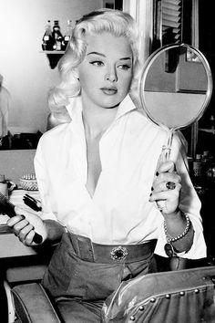 Diana Dors on the set of I Married a Woman (1958)