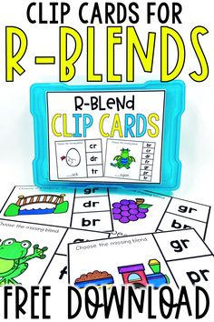 Use the r blend task cards in your kindergarten, 1st grade, or 2nd grade word work centers. These clip cards for teaching blends are fun activities for your students! In this freebie, the picture cards have r blends for students to clip a clothespin on to show the answer. R blends included: br, cr, dr, fr, pr, tr, and gr! #wordwork