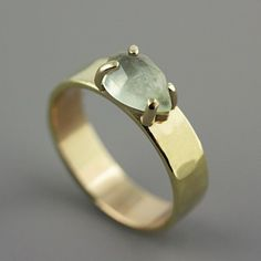 Hammered Gold Ring with Prehnite  Green Stone door SarahHoodJewelry, $630.00