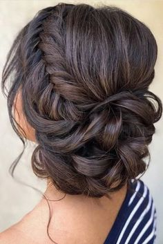 wedding hairstyles bride 33 Wedding Updos With Braids wedding updos with braids low curly updo on dark hair samirasjewelry Prom Hair Updo, Bridal Hair Updo, Wedding Hair And Makeup, Homecoming Updo Hairstyles, Wedding Updo With Braid, Updo For Long Hair, Brunette Bridal Hair, Bridesmaid Hair Brunette, Curly Wedding Updo
