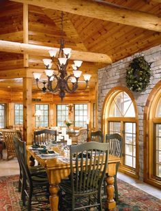 Custom Hybrid Log Homes & Timber-Frame Homes – Photo Gallery by Wisconsin Log Homes - Kitchens - Wisconsin Log Homes