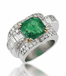 AN ART DECO EMERALD AND DIAMOND RING The central square cut-cornered emerald to baguette-cut diamond raised shoulders and pavé-set circular-cut diamond bezel surround, with plain tapering hoop, circa 1935 Art Deco Ring, Art Deco Jewelry, High Jewelry, Jewelry Rings, Jewlery, Emerald Jewelry, Diamond Jewelry, Emerald Rings, Emerald Diamond