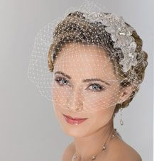 birdcage veil. soft glowing makeup, structured brow, flower headband TheKnot.com - Wedding Planning - Wedding Ideas- Wedding Dresses