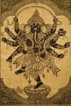 Ganesha- With the head of an elephant atop a human body, Ganesha, the God who Removes all obstacles, the patron deity of the arts and sciences, the god of wisdom, new beginnings, and commerce. In his 4 arms he carries objects ( an axe, a noose, and an elephant goad) that he uses to destroy, subdue, or control the obstacles of life. He often holds a bowl of sweets to denote his benevolent and loving nature.