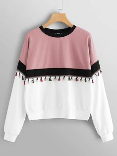 Shop Plus Tassel Detail Color Block Pullover online. SHEIN offers Plus Tassel Detail Color Block Pullover & more to fit your fashionable needs. Sweat Shirt, Sweatshirts Online, Hoodies, Mode Boho, Moda Plus Size, Young Models, Spandex Fabric, Casual T Shirts, Types Of Sleeves