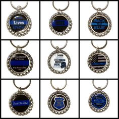 Police Support Bottle Cap Keychain Bulk Order 10/ 20/ 30, Police Appreciation #Handmade