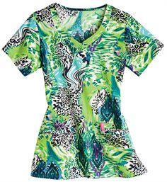 Jockey Classic Animal Rug Blue Scrub Top - Animal Print Nursing Scrub Uniforms