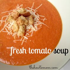 Soup With Garden Tomatoes Delicious tomato soup using fresh tomatoes! Better than the canned stuff, and super easy. via The How To MomDelicious tomato soup using fresh tomatoes! Better than the canned stuff, and super easy. via The How To Mom Fresh Tomato Soup, Fresh Tomato Recipes, Tomato Soups, Tomato Basil, Recipe For Fresh Tomatoes, Recipe For Tomato Soup, Garden Tomato Recipes, Tomato Bisque Soup, Tomato Tomato