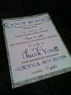candy buffet at boy baby shower | Baby Shower Candy Buffet Sign- Baby Girl. Made by Bella M Events on ...