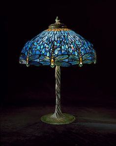 "* Tiffany Studios, New York, Favrile Leaded Glass and Patinated Bronze ""Dragon Fly"" Lamp."