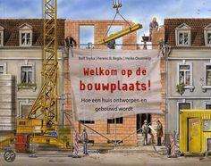 Infoboek met heel gedetailleerde prenten over het bouwen van een huis