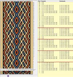 40 cards, 4 colors, repeats every 8 rows, GTT 🔹 Inkle Weaving, Inkle Loom, Card Weaving, Weaving Art, Tapestry Weaving, Tablet Weaving Patterns, Weaving Designs, Weaving Textiles, Bead Loom Patterns