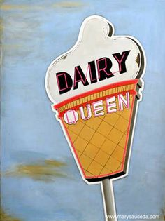 Dairy Queen Vintage neon sign - Acrylic on canvas $25 #popart #retro #painting #art #vintage