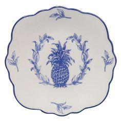 Blue Pineapple Plates, Set/4