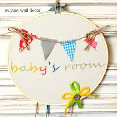 Baby's room Embroidery Hoop Art / 6.8'' 17cm / by evjanewalldecor