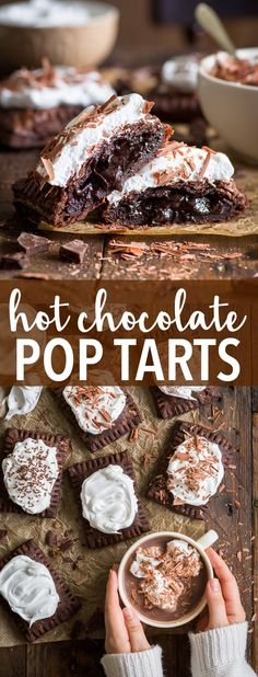 Hot Chocolate Pop Tarts (Gluten Free) - [SPONSORED] Combine everyone's favourite winter drink with the wonder that are pop tarts – and you get these EPIC hot chocolate pop tarts! With a super flaky chocolate pie crust, a decadent chocolate fudge filling and a fluffy marshmallow meringue frosting, it's impossible not to love them. Gluten free pie crust. Hot chocolate pie. Chocolate dessert recipe. Easy dessert recipe. Winter dessert. Christmas dessert. Homemade pop tarts. #glutenfree #chocolate