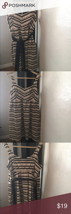 NWT Motherhood Maternity Dress Sz L Tan and Black NWT Maternity Dress. Tan with black stripes, so cute for you mommies to be! Come with black ribbon to tie around if desired. Tank style dress. Motherhood Maternity Dresses Midi