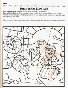 Daniel in the lions den color page bible story color page for Daniel and the lions den coloring pages