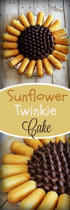 Sunflower Twinkie Cake - My Recipe Treasures Cookie Desserts, Just Desserts, Delicious Desserts, My Recipes, Dessert Recipes, Favorite Recipes, Twinkie Cake Recipes, Yummy Treats, Sweet Treats