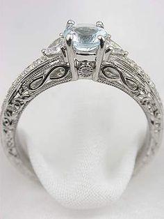 Aquamarine Filigree Engagement Ring, RG-2814aj --- this site. I'm in love. <3