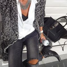 details. black + white. waterfall cardigan. white blouse. ripped jeans.