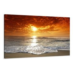 "Picture - art on canvas beach length 31,5"" height 24"", one-part parts model no. XXL 4038 Pictures completely framed on large frame. Art print Images realised as wall picture on real wooden framework. A canvas picture is much less expensive than an oil painting poster or placard: Amazon.co.uk: Kitchen & Home"
