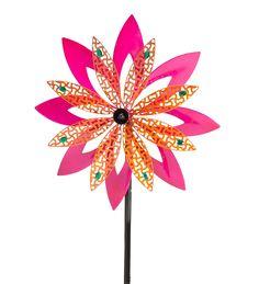 Metal Pink Flower Wind Spinner