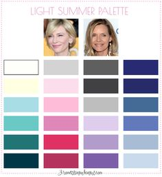Best colors for Light Summer seasonal color women; Light Summer color palette | #LightSummer #colorpalette