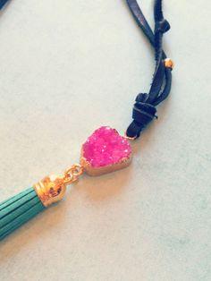druzy tassel necklace  leather necklace druzy druzy by hsmd, $34.00 #druzy #hsmd #jewelry