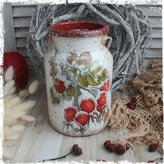 """Купить """"Заснеженный шиповник"""" бидон - коралловый, красный, белый, шиповник, ягоды, зима, бидон, Декупаж"""