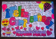 Pancartas de cumpleaños hechas a mano. Contacto whatsapp 04149758612 #pancartasdeamor Game Og Thrones, Adventure Time Art, Love Notes, Ideas Para, Smurfs, Birthdays, Happy Birthday, Lettering, Halloween