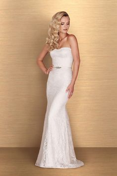 Viewour Strapless Lace WeddingDress - Style #4673 from Paloma Blanca.All lace gown with sweetheart neckline.Fit and flare lace skirt.Chapel Train.