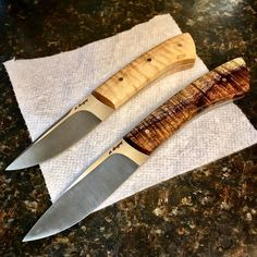 A hollow ground hunter and a pocket utility, both in thin AEBL. Almost done. #mgregoryknives #knives #knifenut #knifestagram #knifecommunity #knifecollection #allknivesdaily #customknives #everydaycarry #edcknife #allknivesdaily #bladeforums #usnstagram #handmade #customknife #huntingknife #huntlife