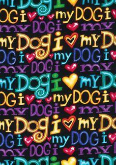 2 yards  I Love My Dog  Fabric by HotDiggityDogFabrics on Etsy, $24.75