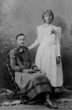"""Inscription on back of photo reads """"May (or Mary) and Linda, 1882 - teenaged sisters"""
