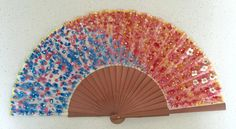 Handmade handfan cotton and wood watercolor painted. by MonBrise