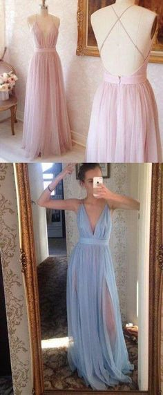 v-neck prom dress tulle sexy backless evening dress high slit prom gowns,HS096 #fashion#promdress#eveningdress#promgowns#cocktaildress