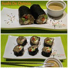 Sushi De Quinoa  Hidrata 1 Cda. de chía en muy poquita agua ( solo para que se haga un gel) revuelve con 1/2 de quinoa y rellena a tu gusto