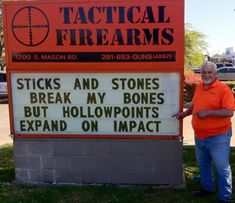 Spunky Katy, Texas Gun Store Under Political Attack Fights Back With Hilarious Signs,yup,they do,hollow points tear stuff up. Funny Quotes, Funny Memes, Hilarious, Gun Humor, Military Humor, Apocalypse Survival, Store Signs, Funny Signs, Laugh Out Loud