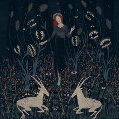 illustration by Alexandra Dvornikova Art And Illustration, Arte Inspo, Kunst Inspo, Potnia Theron, Witch Art, Art Graphique, Fine Art, Art Plastique, Dark Art